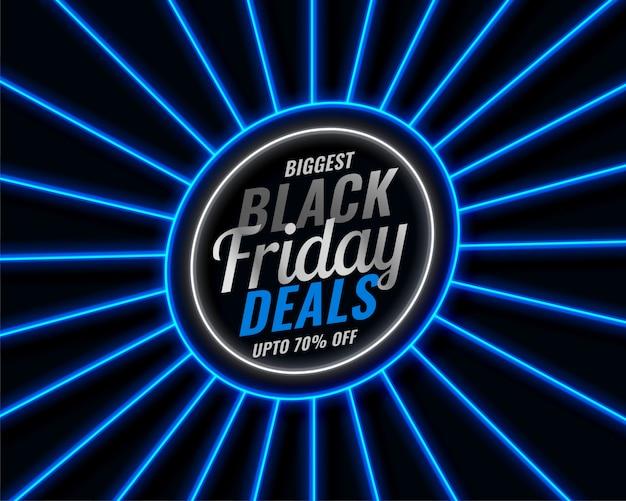 Banner de venta de estilo de neón azul de viernes negro