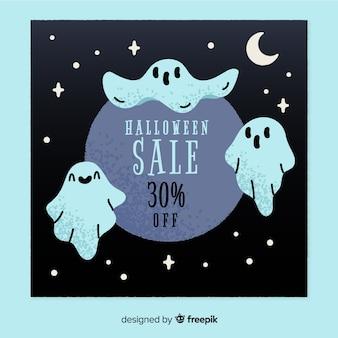 Banner de venta de fantasma de halloween dibujado a mano