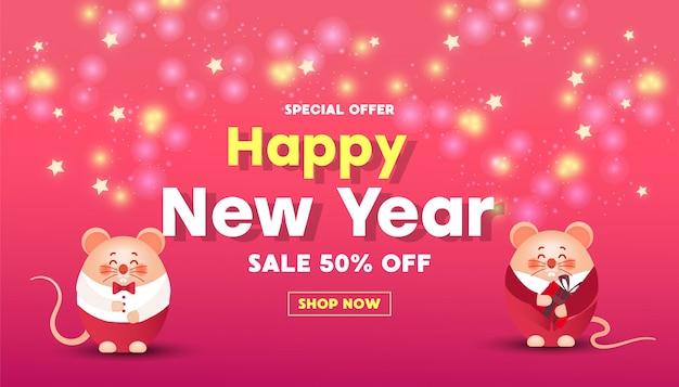 Banner de venta de feliz año nuevo con ratones lindos