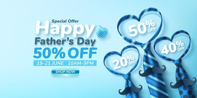 Banner de venta de feliz día del padre