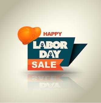 Banner de venta feliz día del trabajo con casco.