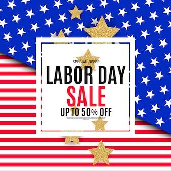 Banner de venta feliz día del trabajo de estados unidos