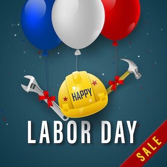 Banner de venta feliz día del trabajo