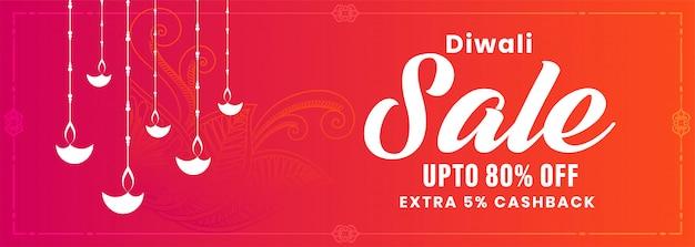 Banner de venta feliz diwali en color rosa
