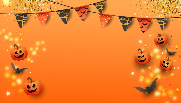 Banner de venta feliz halloween con calabaza, murciélagos y dulces sobre fondo naranja.