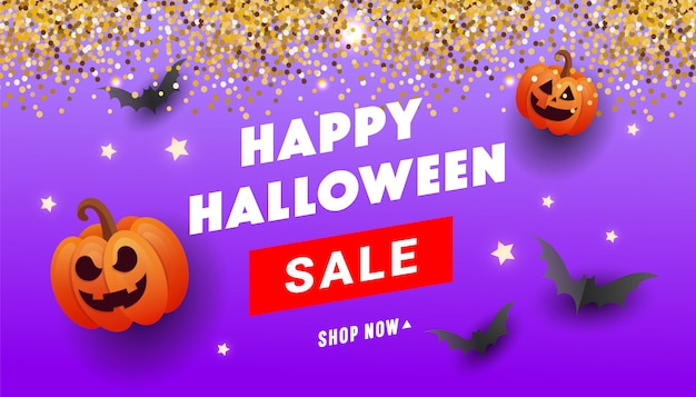 Banner de venta de feliz halloween con calabazas naranjas, bolas de fantasmas, serpentina de brillo dorado