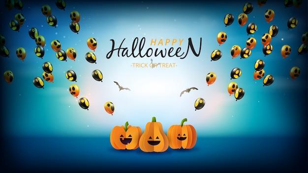 Banner de venta de feliz halloween. noche espeluznante con calabazas de halloween y globos fantasma voladores.