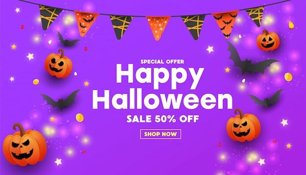 Banner de venta feliz halloween con texto, símbolos calabaza, guirnaldas de colores y dulces