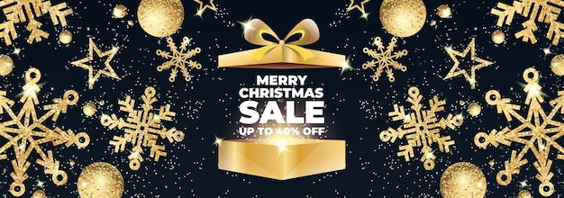 Banner de venta de feliz navidad con caja de regalo dorada abierta