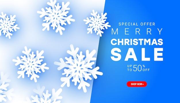 Banner de venta de feliz navidad de estilo minimalista con elementos de copo de nieve de corte de papel con texto de descuento para la promoción de compras navideñas.