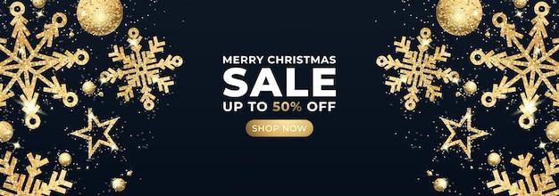 Banner de venta de feliz navidad con estrellas brillantes y confeti dorado. vector