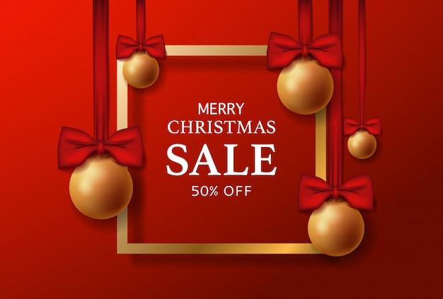 Banner de venta feliz navidad con marco dorado.
