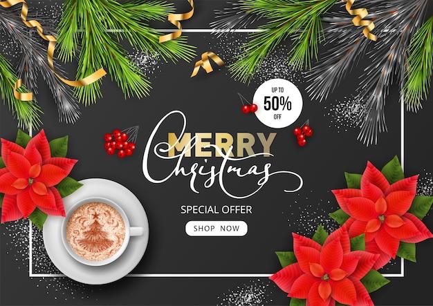Banner de venta de feliz navidad y próspero año nuevo