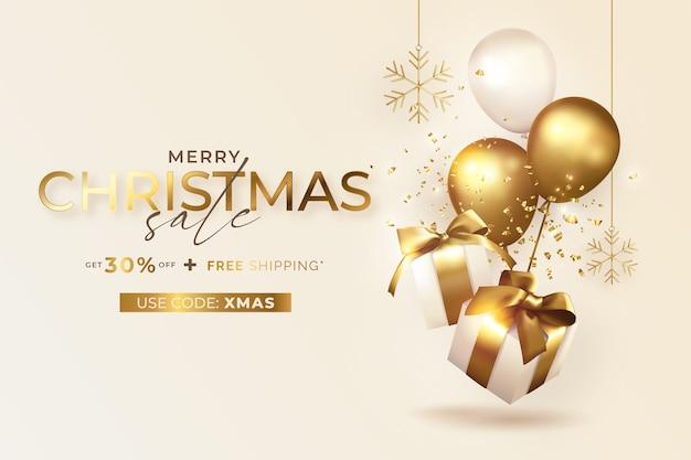 Banner de venta de feliz navidad con regalos y globos realistas