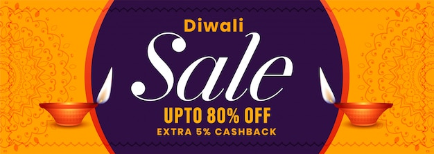 Banner de venta del festival de diwali en colores amarillo y morado
