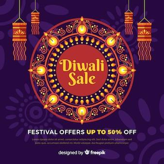 Banner de venta de festival de diwali de diseño plano
