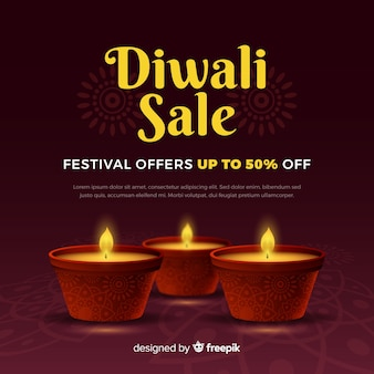 Banner de venta de festival de diwali realista