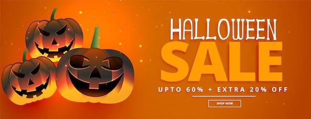 Banner de venta festival feliz halloween con tres calabazas