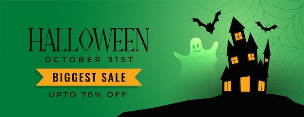Banner de venta festival de halloween con casa de miedo