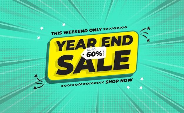 Banner de venta de fin de año con estilo de fondo de zoom cómico