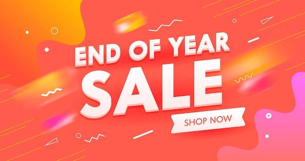 Banner de venta de fin de año, publicidad de marketing en redes sociales digitales.