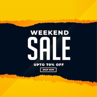 Banner de venta de fin de semana en estilo de papel rasgado
