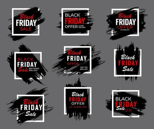 Banner de venta de fin de semana de viernes negro, oferta de promoción de tienda