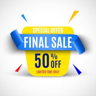Banner de venta final con cinta azul.