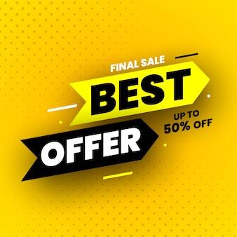 Banner de venta final de la mejor oferta con sombra sobre fondo amarillo hasta 50 de descuento en la ilustración