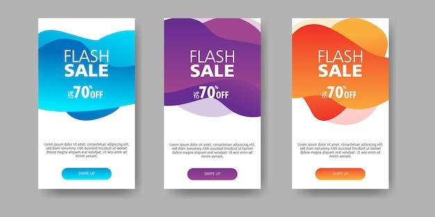 Banner de venta flash hasta 70% de descuento con gradiente de fluido de forma