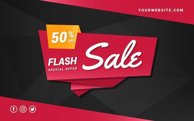 Banner de venta flash en estilo origami