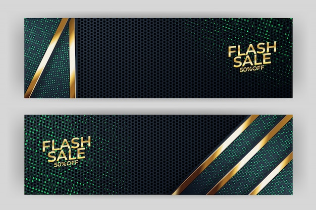 Banner de venta flash con fondo de oro estilo premium