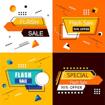 Banner de venta flash set elements premium vector pack