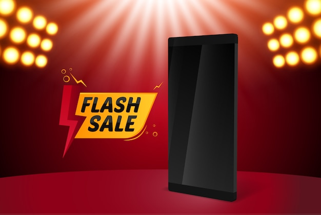 Banner de venta flash con teléfono inteligente
