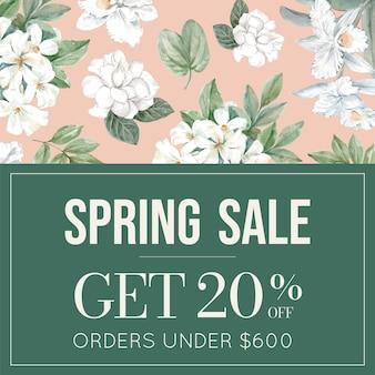 Banner de venta floral con marco