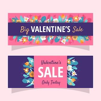 Banner de venta floral de san valentín