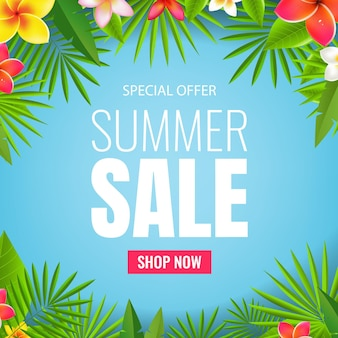 Banner de venta con flores y hojas tropicales
