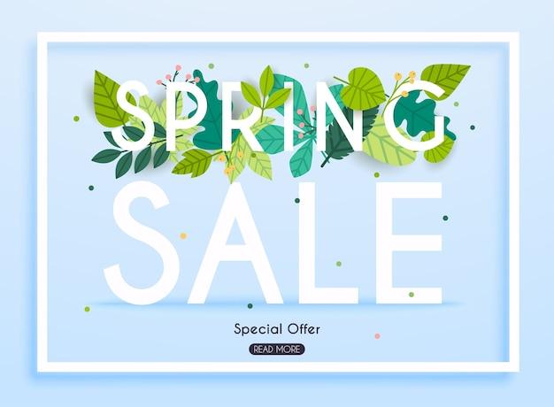 Banner de venta con flores, póster, folleto. ilustración.