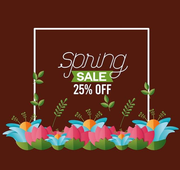 Banner de venta de flores primavera