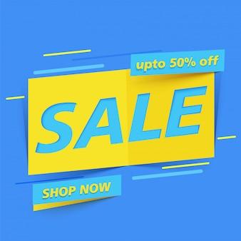 Banner de venta geométrica azul con oferta de descuento del 50%