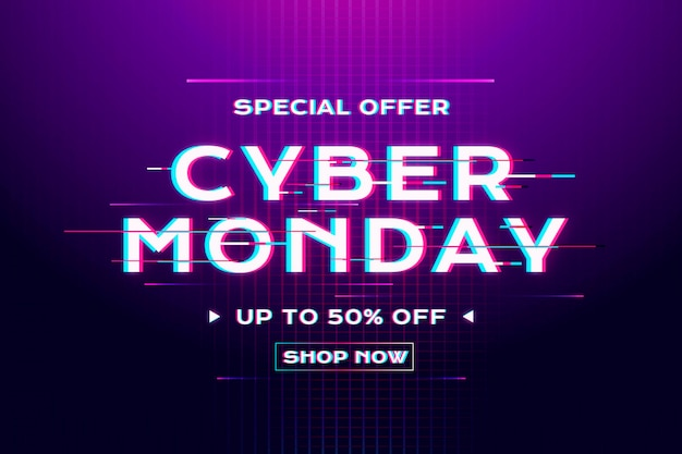 Banner de venta de glitch de cyber monday