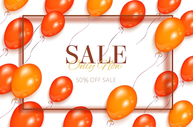 Banner de venta con globos naranjas