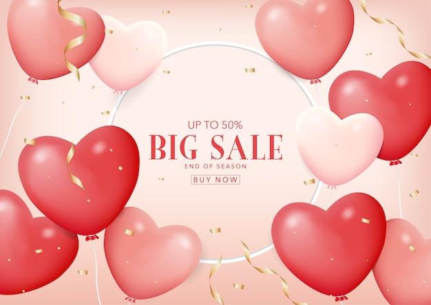 Banner de venta con globos rosados realistas con forma de corazón