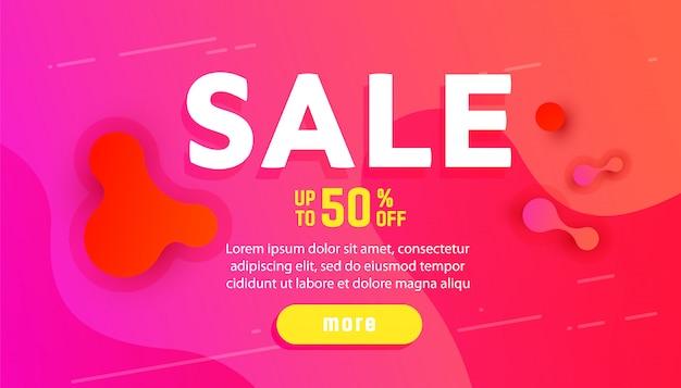 Banner de venta con gradiente líquido ondulado dinámico abstracto