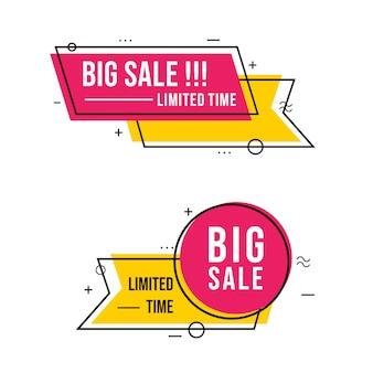 Banner de venta grande con arte de línea simple