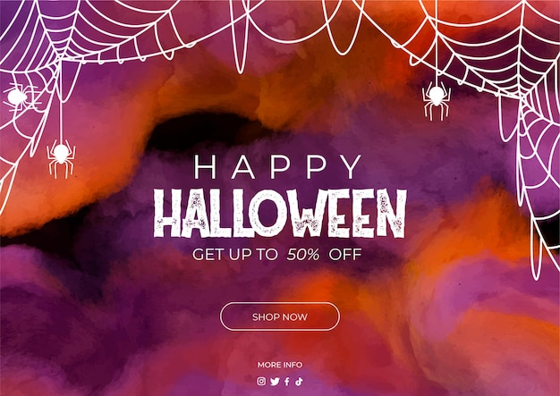 Banner venta de halloween en acuarela