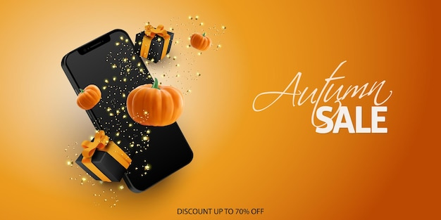 Banner de venta de halloween con caja de regalo de confeti para teléfono inteligente y calabaza realista sobre fondo naranja