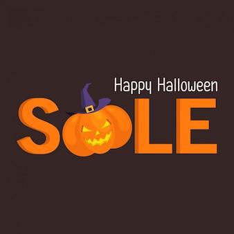 Banner de venta de halloween con calabaza y sombrero de bruja