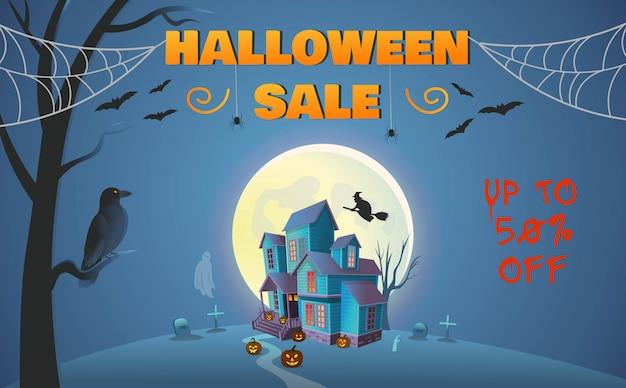 Banner de venta de halloween. casa encantada con puerta, calabazas, una bruja en una escoba, arañas, un cuervo y un fantasma. ilustración de vector de estilo de dibujos animados.