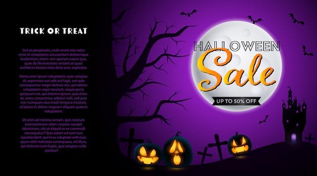 Banner de venta de halloween con cementerio y luna